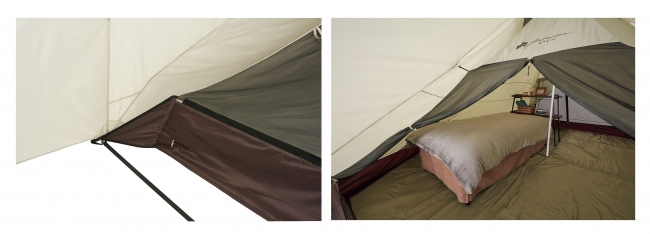 インナーテントの下部にグラスファイバー製の芯材を入れて 裾を立ち上げることにより、デッドスペースを減らして有効スペースを拡大。 居住性に優れ、大型ベッドを置いても広々使える。