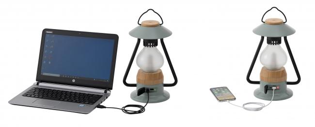 電源やPCを付属USBケーブルに繋げば本体への蓄電が可能。パワーバンク機能の搭載で、本体からスマホへの充電もできる。