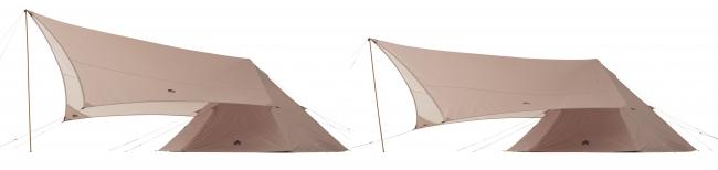 タープは高さ2段階調節できるので、雨や風にも強い構造に。