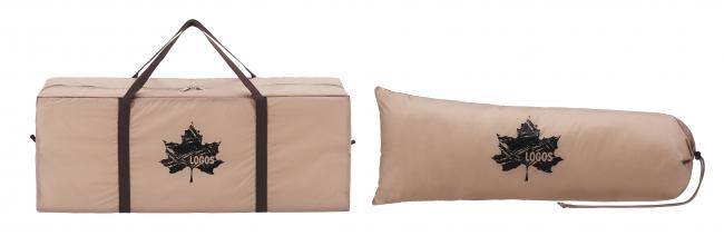 持ち運びに便利な収納バッグ付き。(左:テント収納袋、右:タープ収納袋)