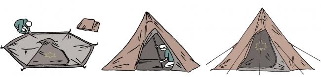 組立て簡単なワンポール式テントは、3ステップで設営完了。セットでの使用はもちろん、テント単独の使用も可能。