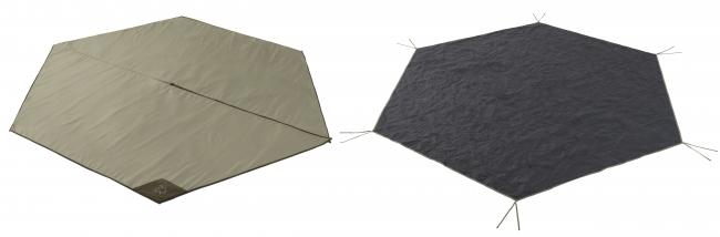 LOGOSのティピーに対応した、地面からの冷気や湿気を遮断するインナーマットと、フロアシートの汚れや摩擦を軽減するグランドシートの2点セット。(左:インナーマット、右:グランドシート)