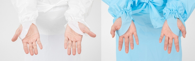 親指穴付きで、ゴム袖仕様。 ウエストには固定ベルトが付いており、サイズに合わせて調節が自由自在。