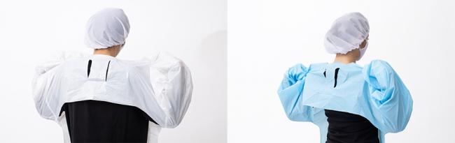 割烹着スタイルなので、ひとりで簡単に着脱可能。 脱衣時は、首元を破り破棄できる表面非接触タイプ。防水仕様かつフリーサイズなので使い勝手抜群。