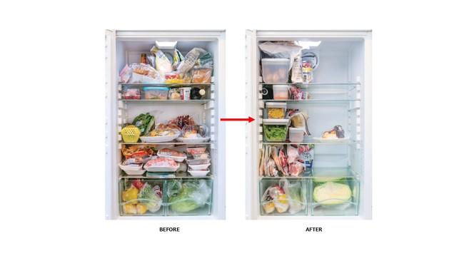 ・重ねられるコンテナとコンパクトなバッグで、 冷蔵庫を見やすくすっきり整理。