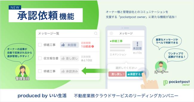いい生活が「pocketpost owner」の新機能「承認依頼機能」をリリース、オーナー様とのコミュニケーションのDXを推進