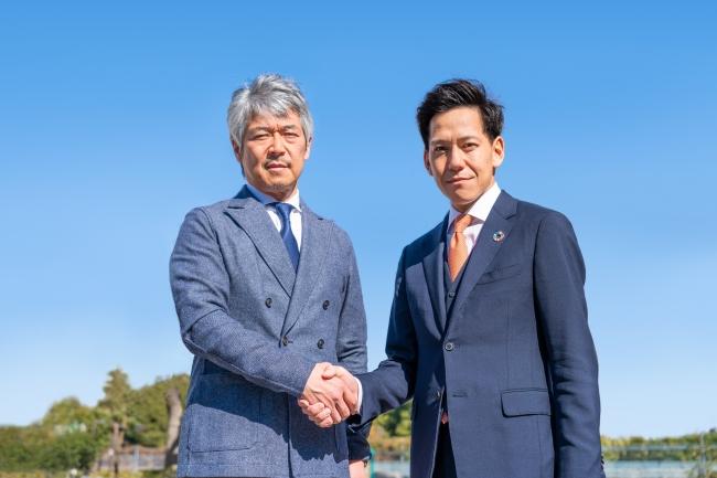画面向かって左より、エアロネクスト代表取締役CEO 田路圭輔、小橋工業代表社長 小橋正次郎