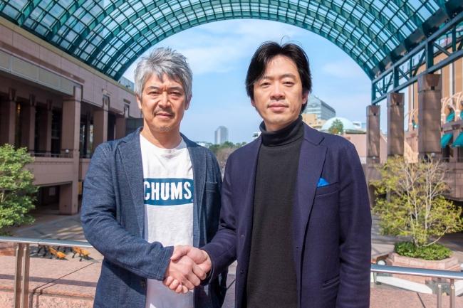 写真向かって左より、エアロネクスト代表取締役CEO 田路圭輔、チェンジ代表取締役兼執行役員社長 福留大士