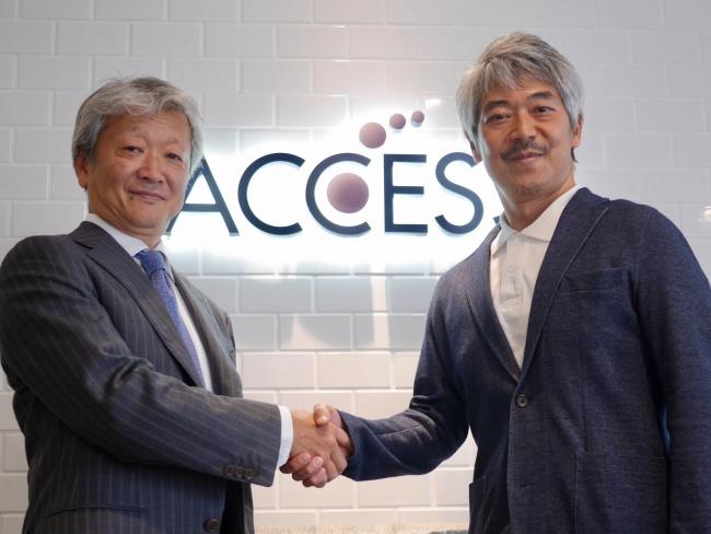 写真向かって左より、ACCESS代表取締役 社長執行役員 大石 清恭、エアロネクスト 代表取締役CEO 田路圭輔