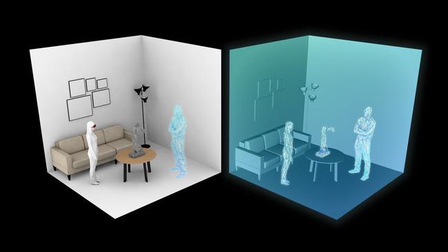 左、現実空間において、ARユーザーの視点から、遠隔地のVRユーザーのアバターがあたかも目の前に見えているイメージ 。右、サイバー空間において,VRユーザーの視点から、遠隔地のARユーザーのアバターがあたかも目の前に見えているイメージ 。