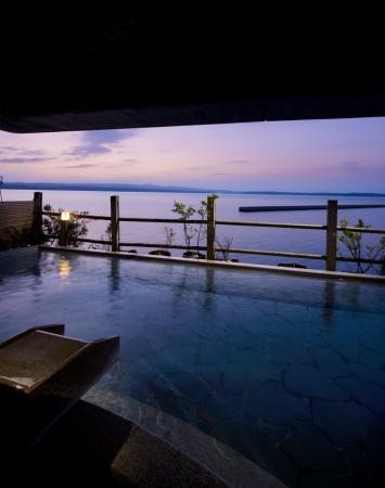 「加賀屋」殿方大浴場 空中露天風呂
