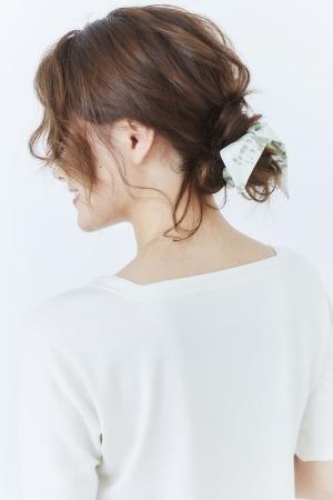 花柄 リボンシュシュ 2WAYタイプ ホワイト
