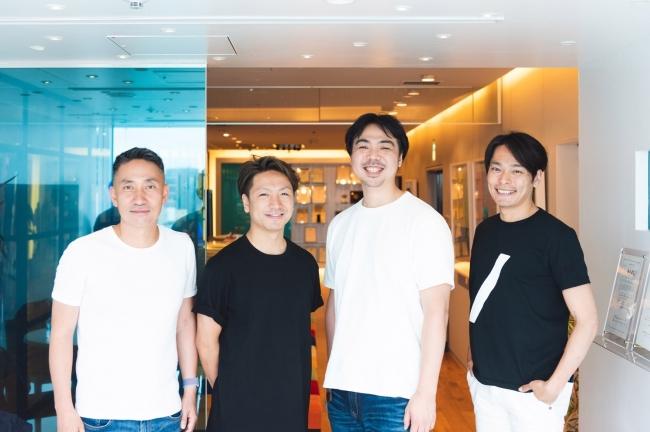 写真左から株式会社DGインキュベーション 上原健嗣氏、  ノイン株式会社CEO渡部賢、  COO千葉久義、  STRIVE堤達生氏