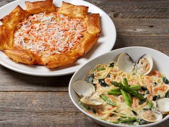 桜海老&しらすのクリスピーパイピザ・ハマグリと桜海老のクリームスープパスタ