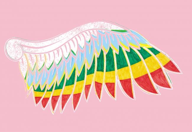 ▲青年が描いた羽根