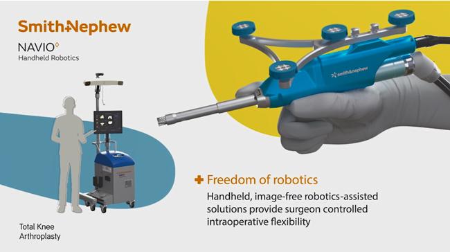 図1:手術支援ロボット   (コンピューターユニットとハンドピース型ロボット)