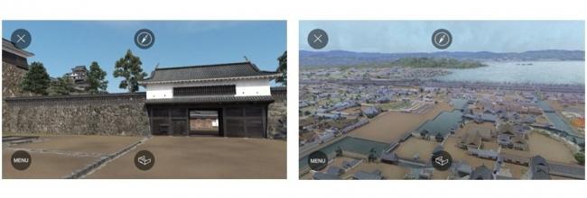 左:松江城「大手門(南惣門)」 右:江戸末期の水都松江 製作・著作:松江市 制作:凸版印刷株式会社