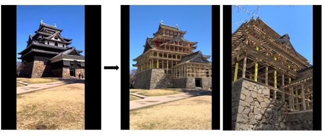 現存する天守と、天守の内部構造のCGがARで重ねて見える様子