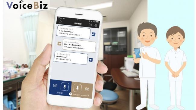 診察受付時の対話イメージ (11言語に対応。画面はブラジル・ポルトガル語)