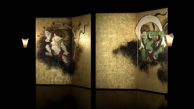 VRが可能にする蝋燭の灯による金箔の輝き再現  VR 作品『風神雷神図のウラ -夏秋草図に秘めた想い-』より 監修:東京国立博物館 制作:凸版印刷株式会社