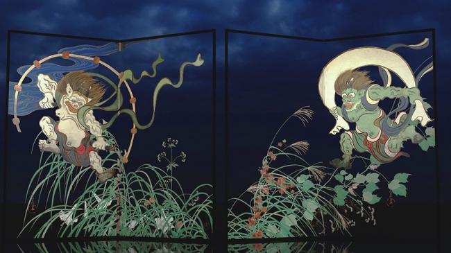 屛風を透かし表裏の関係を表現  VR 作品『風神雷神図のウラ -夏秋草図に秘めた想い-』より 監修:東京国立博物館 制作:凸版印刷株式会社