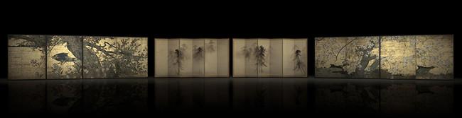 (左)国宝「楓図壁貼付」長谷川等伯筆 (右)国宝「桜図壁貼付」長谷川久蔵筆 京都・智積院蔵、(中)国宝「松林図屛風」