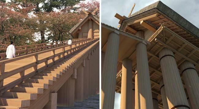 (左)階段を上がる神職の様子、(右)巨大な高層神殿を見上げている様子 製作・著作:出雲市 制作:凸版印刷株式会社