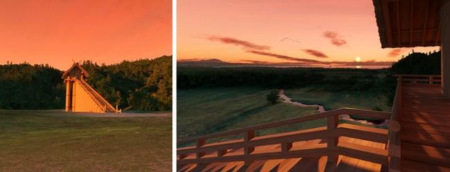(左)夕暮れの古代出雲大社高層神殿、(右)高層神殿の上から見る夕暮れ 製作・著作:出雲市 制作:凸版印刷株式会社