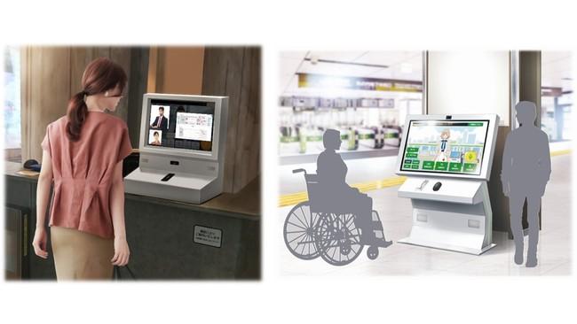 「BotFriends(R) Vision+」の駅改札設置イメージ(左)と「BotFriends(R)Vision」の駅構内設置イメージ(右) (C) Toppan Printing Co., Ltd.