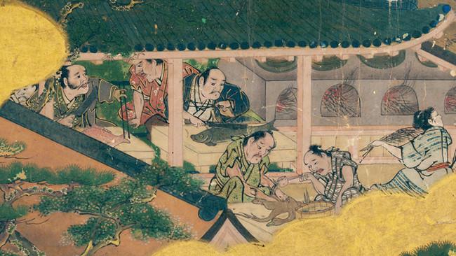 二条城の台所で鴨や鯛を調理する様子
