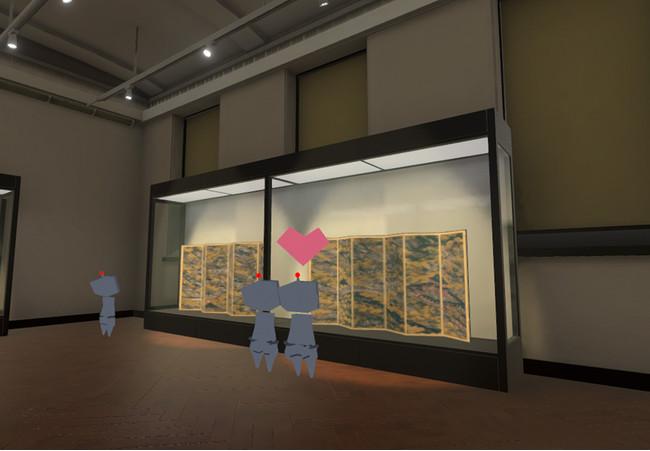 バーチャル特別展「アノニマス ―逸名の名画―」内の国宝「洛中洛外図屛風(舟木本)」展示の様子 Virtual Tohaku