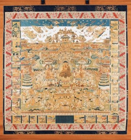 「刺繡當麻曼荼羅」(真正極楽寺所蔵)の全体