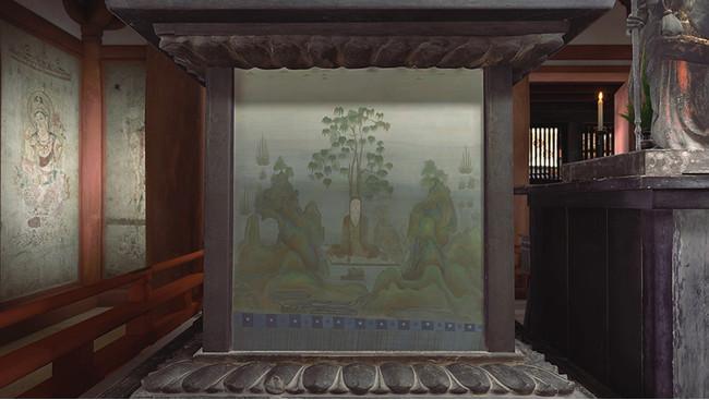 薬師如来像台座画再現シーン 以上、VR作品『法隆寺 国宝 金堂―聖徳太子のこころ』より 監修:東京国立博物館、文化財活用センター、法隆寺 制作:凸版印刷株式会社