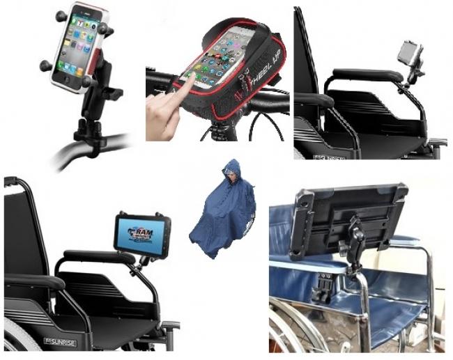 車椅子に装着できるスマホ・タブレットスタンド例
