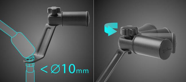 ミラー取付け部ネジ径が10mm以下に対応、マウント角度はノブねじで調整