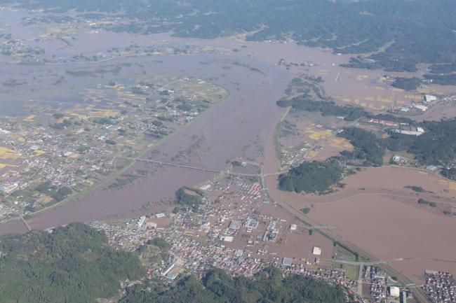令和元年10月13日の丸森町上空写真 出展:国土地理院ウェブサイト(令和元年(2019年)台風19号に関する情報)