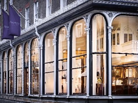 ロンドン ニューボンドストリートにあるアスプレイ本店の外観