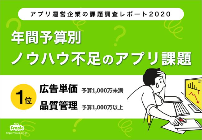 ノウハウ不足のアプリ課題、年間予算1,000万円未満では広告単価、1,000万円以上では品質管理が1位に