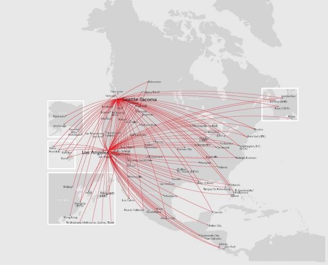 デルタ航空シアトル以遠の路線網