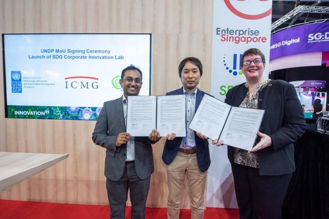 左から、SL2 Veerappan Swaminathan氏、 ICMG 辻悠佑、 UNDP GCTISD Anne Lochoff氏