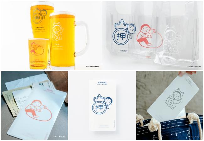 Pinkoi × Noritake 左上:ビールグラス 3種セット、右上:PVC ビニールバッグ、下すべて:クリアファイル/マスクケース
