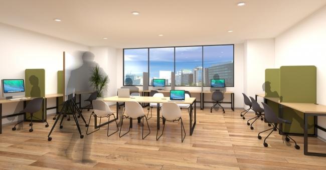 対面での業務を極力避けるため壁向きに設置したデスクと、中央に設けたオープンなミーティングスペースでフリーアドレスを有効活用。一人ひとりの距離を適切に保った10人規模のオフィスレイアウトイメージ
