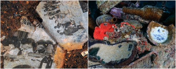 左:『平安丸』客室付近から出てきた紙の切れ端は当日の新聞か。ーチューク(トラック諸島) 右:『神國丸』甲板に持ち出された当時の食器や靴底ーチューク(トラック諸島)