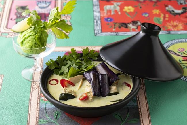 タイ風グリーンカレーxアボカド&パクチー・ミントアイスクリーム
