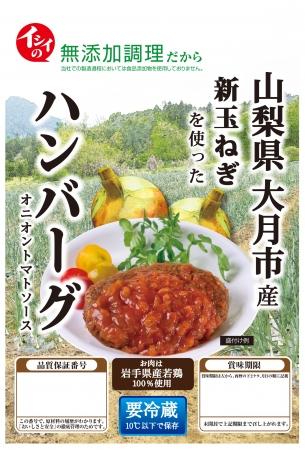山梨県大月市産新玉ねぎを使ったハンバーグ オニオントマトソース