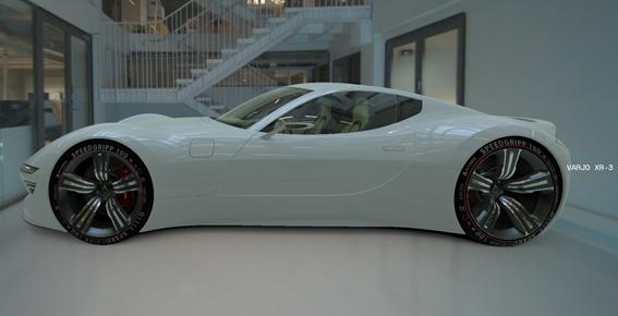 Varjo XR-3により現実世界に表示された車
