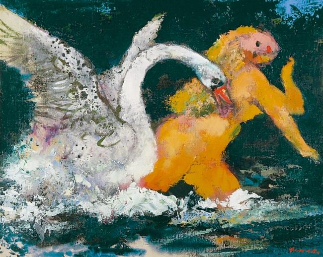 「レダ」 1977年 アクリル、キャンバス