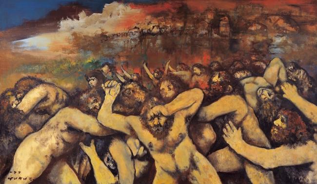 「わざわいの都バビロンの滅亡ーヨハネの黙示録から」 1986年 アクリル、キャンバス