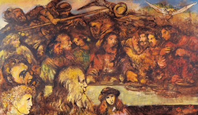 「最後の晩餐の一つの見方」 1986年 アクリル、キャンバス