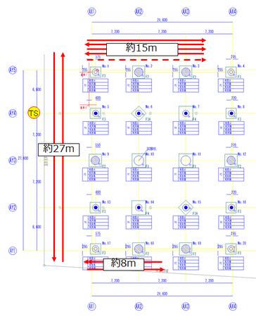 検証現場図:赤い矢印は検証経路、点線矢印は下表SEQ19~21(1回目のみ)